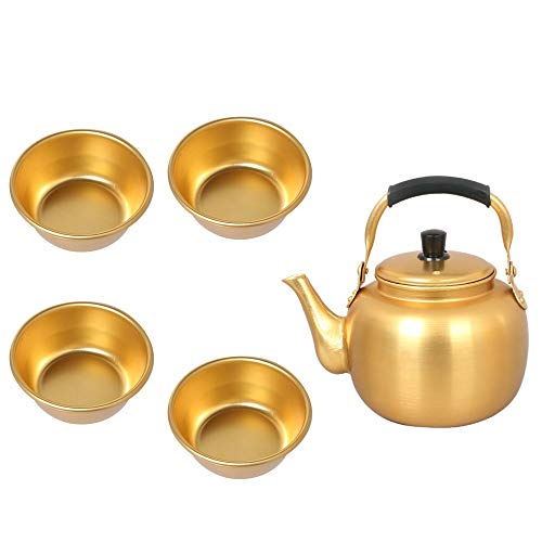 Gold Rice Bowl - DNDMALL Makgeolli Drink Korean Raw Rice Wine Bowl 4 PCS and Yellow Kettle Set 1PCS 34 OZ