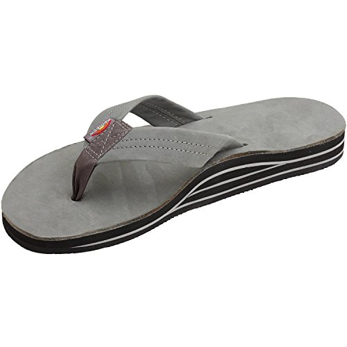 Rainbow Sandals Men's Premier Leather Double Layer with Arch Wide Strap, Grey, Men's Large / 9.5-10.5 D(M) US