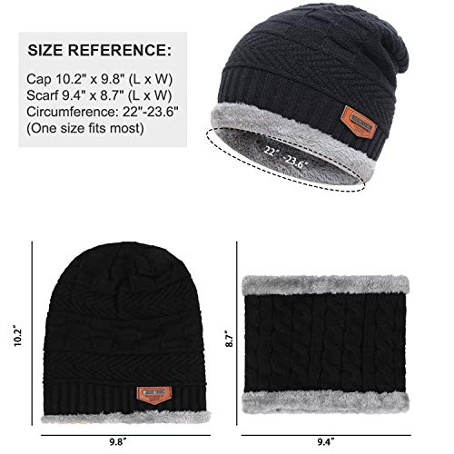 Men's 2-Pieces Winter Beanie Hat Scarf Set Warm Knit Hat Thick Fleece Lined Winter Cap Scarves for Men Women 4