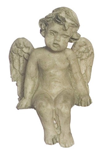 Miniature Sitting Aged Green Cherub Wallpaper (Wallpaper Cherub)