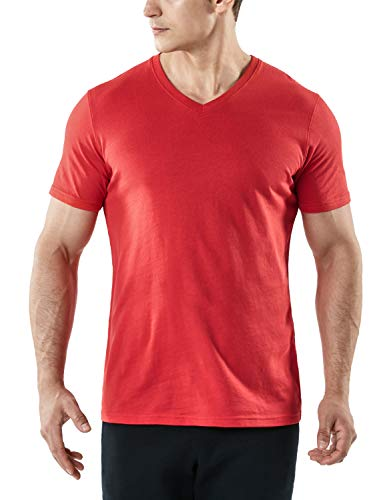 (TSLA Men's HyperDri Short Sleeve T-Shirt Athletic Cool Running Top MTS Series, Dyna Cotton V Neck(mts51) - Red, Large )