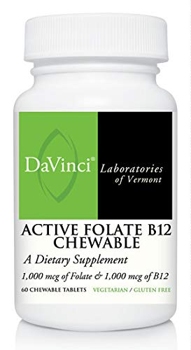 Davinci Laboratories – Active Folate B12 Chewable, Vitamin B12 and Folic Acid Supplement, 60 ct, Vegetarian