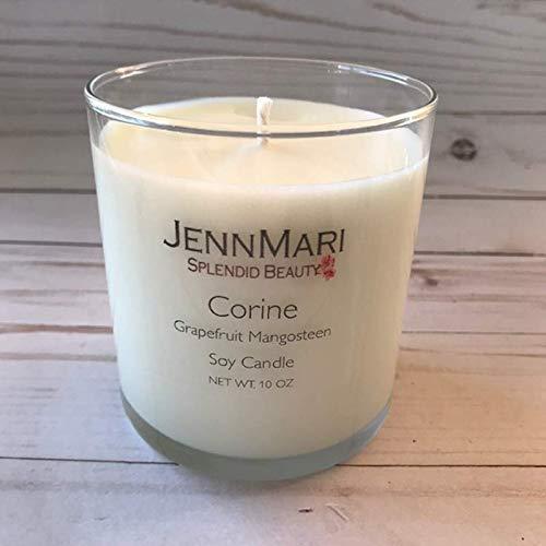 Splendid Beauty | Grapefruit Mangosteen Scented Soy Candle Glass Jar | 10 Oz | Handmade | Eco-friendly | Vegan | Cotton Wick | 100% Soy -