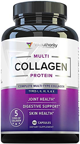 Multi Collagen Pills with Hyaluronic Acid & Vitamin C: 5 Type Hydrolyzed Collagen Protein Peptides, Types I II III V X, 60 Servings, 180 Capsules