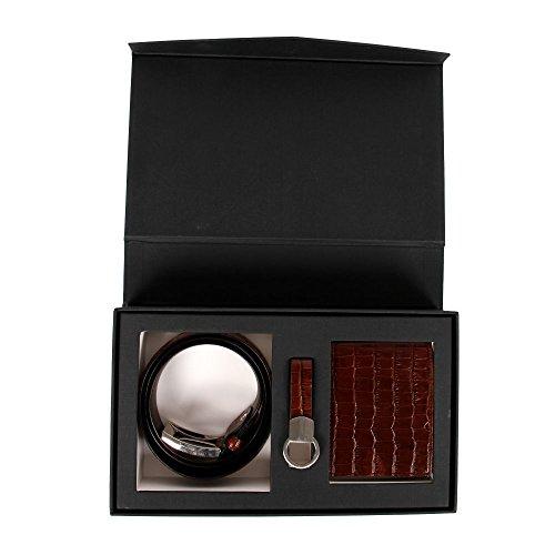 35-36 Affilare Men's Italian Leather Belt and Wallet Set - Brown 12GBCFTD187BR from Affilare