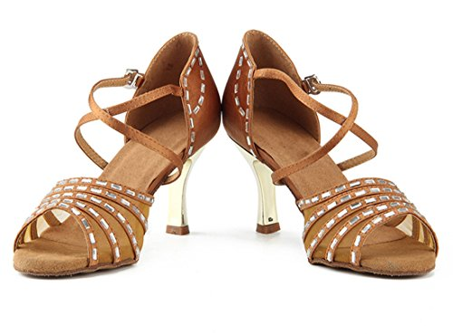 Joymod Sandals Brown Formal Party 5cm 7 MGM Satin Toe Rhinestones Women's Heel Dance Wedding Salsa Peep Modern Ballroom Samba Sexy Rumba Mesh Tango Shoes Latin daRCq