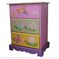 Liberty House Toys Colourful 3 Drawer Children's Chest - Stylish Painted Butterflies Flowers Design - Beautiful Pastel Coloured Unit