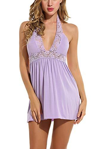 - Avidlove Women Lingerie Lace Chemise Sleepwear Babydoll Set Mini Dress (L, Purple(Halter Style))