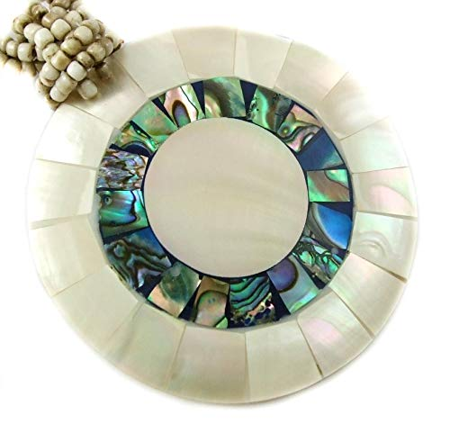 Natural Abalone Shell, Mother of Pearl Pendant 19 Inches Beads Necklace Handmade Jewelry AA192 ()