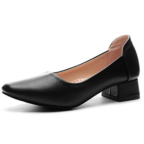 CINAK Pumps for Women| Square Toe Bridal Wedding Slip-on Classic Low Heel Office Dress Casual Shoes