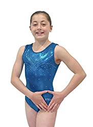 Ocean Blue Gymnastics Leotards With Rhinestones for Girls