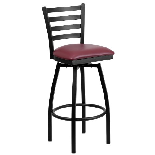 Flash Furniture HERCULES Series Black Ladder Back Swivel Metal Barstool - Burgundy Vinyl Seat by Flash Furniture