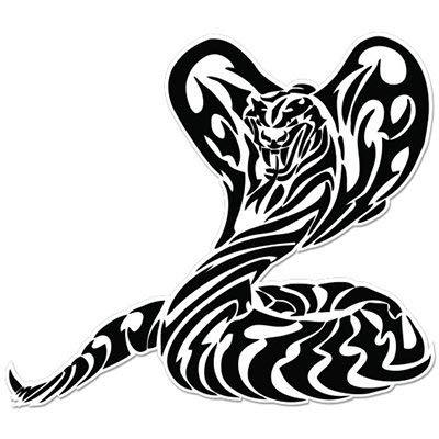 Cobra Snake Fear White Black Vinyl Sticker - Car Phone Helmet Bumper Sticker Decal