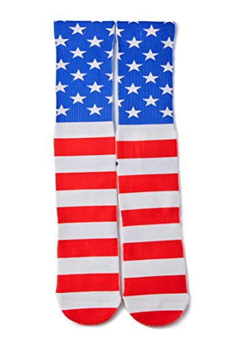 RAISEVERN Mens Crazy Funny US Flag Patriotic Pattern 3d Print Stripe and Stars Novelty Footwear Basketball Athletic Sports Crew Tube Socks