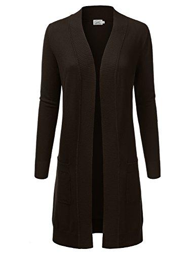 JJ Perfection Womens Light Weight Long Sleeve Open Front Long Cardigan Brown XL
