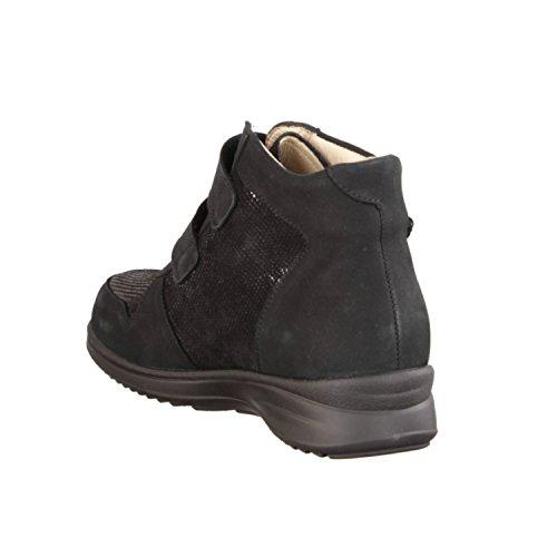 Finn Chaussures Confort Monrovia- Dames Confortable Bottes Bottes Cheville, Noir, Cuir (nubuck / Points)