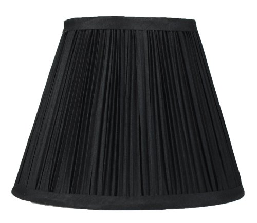 (Urbanest Mushroom Pleated Softback Lamp Shade, Faux Silk, 5-inch by 9-inch by 7-inch, Black, Spider Fitter )