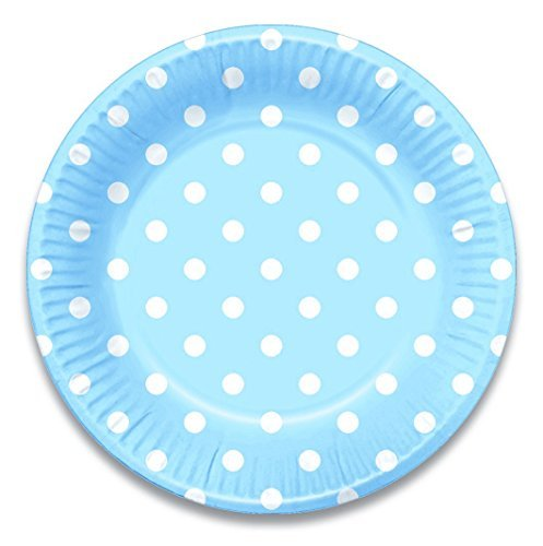 Color Birth Plate (Lolliz 9 Inch Paper Plates. Blue Polka Dots, 12-pieces)