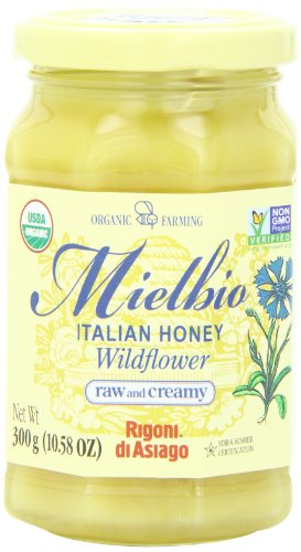 Rigoni Di Asiago Meilbio Italian Raw and Creamy Honey, Wildflower, 10.58 Ounce, 6-jars Creamy Asiago
