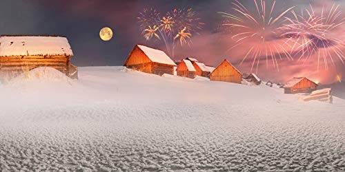 (AOFOTO 20x10ft Happy New Year 2019 Backdrop Banner Moon Night Fireworks Snow-Covered Dorp Cottages Village Landscape Snowscape Merry Christams Background for Photography Photo Booth Props)