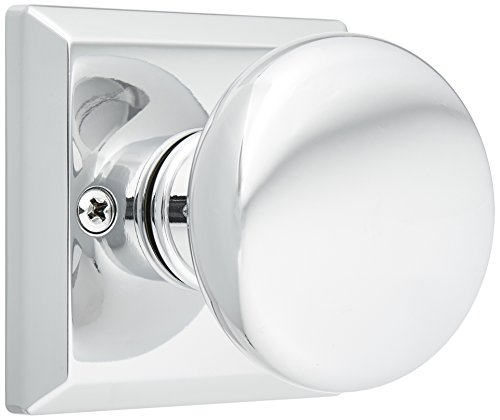 Baldwin HDROUTSR260 Reserve Half Dummy Round with Traditional Square Rose in Bright Chrome Finish