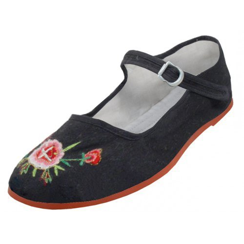 Womens Cotton Mary Jane Shoes Ballerina Ballet Flats Shoes (8, BLACK EMBROIDERED 114) (Embroidered Flat Shoe Women)