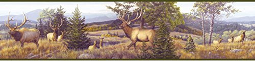 Chesapeake HTM48492B Breeze Blue Elk Mountain Portrait Wallpaper Border