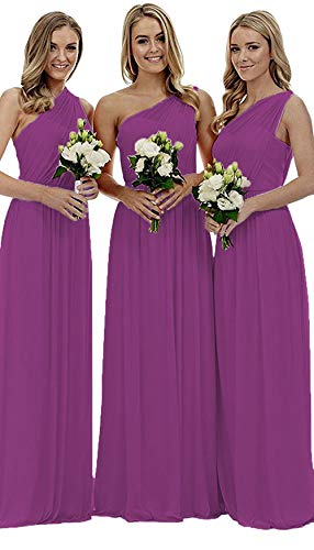 (Women's Raspberry One Shoulder Wedding Bridesmaid Dresses Long Asymmetric Chiffon Formal Evening Dress)