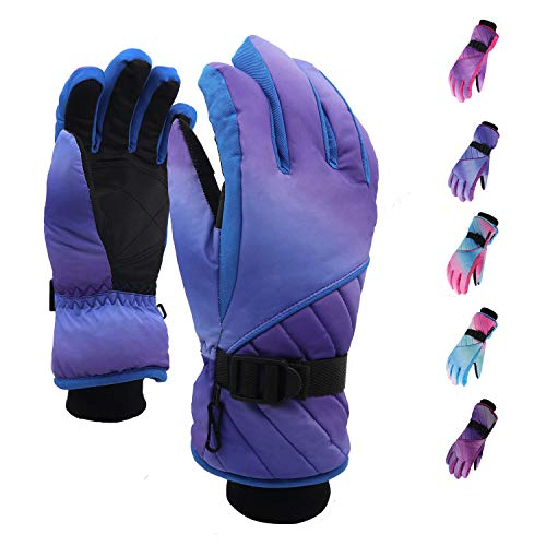 Winter Ski Gloves for women,Waterproof Windproof Snow Skiing Glove,Classic-Blue.