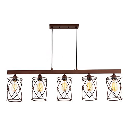 - HMVPL 5 Bulbs Glass Kitchen Island Light with Oil-Rubbed Bronze Finish, Great Ceiling Lamps for Dining Room, Living Room, Bars, Café and More