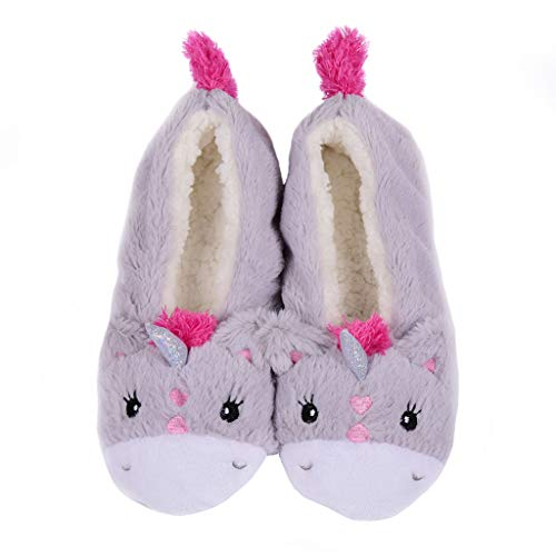 Panda Bros Womens Slipper Socks Low Cut Super Soft Warm Home Sock with Non-Slip Indoor Slipper Shoes Socks(gray unicorn,8-10) ()