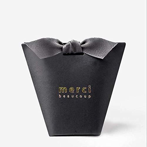 100pcs/50pcs/20pcs Merci Beaucoup White Color Wedding Gift Boxes Paper Cake Box Baby Shower Favor Boxes Candy Box with Ribbon (Black, 100PCS)
