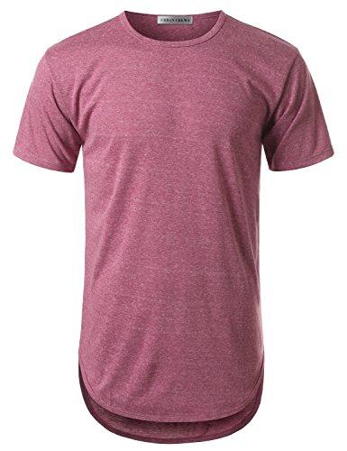 URBANCREWS Mens Hipster Hip Hop Melange Elong Crewneck T-Shirt Viola Large