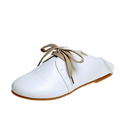 Sikye Kvinnor Komfortläder Loafers, Kvinna Vintage Fluga Mjukbotten Vilda Spets-up Casual Skor Vita