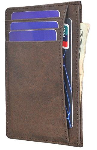 Easyoulife Front Pocket Wallet Mens Leather Minimalist Slim Wallet RFID Blocking