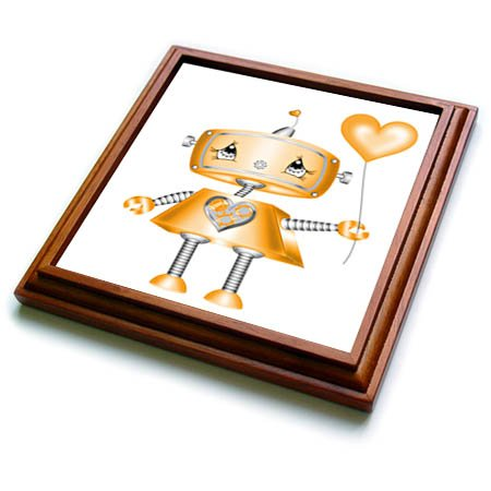 3dRose trv_269350_1 Cute Orange and Silver Valentine Robot Illustration Trivet with Tile, 8'' x 8'' by 3dRose