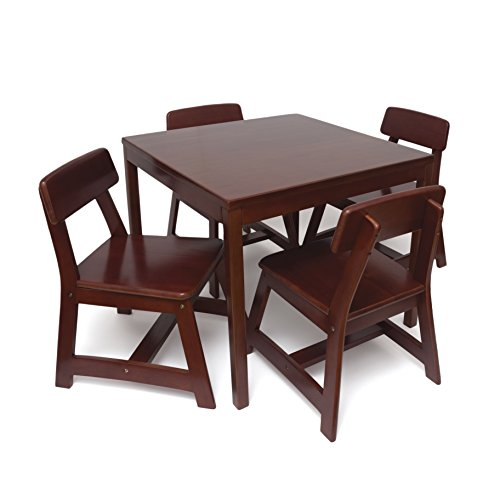 Lipper International 585C Child's Square Table and 4 Chair Set, Cherry Finish