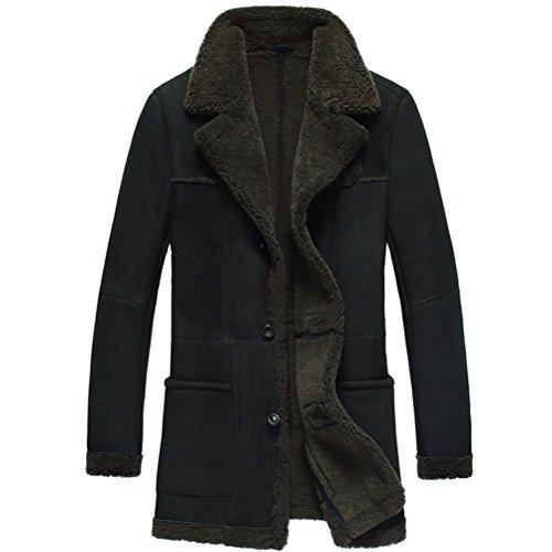 Cwmalls Men's Shearling Sheepskin Leather Coat Large