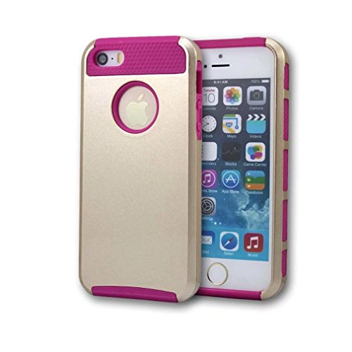 iPhone 5 Coque,iPhone 5S Coque,iPhone SE Coque,Lantier Colorful série de mode 2 en 1 double couche hybride Couverture rigide antichoc pour Apple iPhone 5 5S SE Gold + Hot Pink