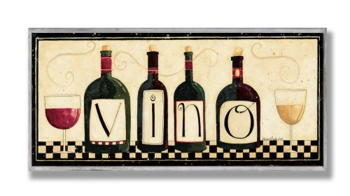 The Stupell Home Décor Collection Vino Kitchen Wall Plaque, 7 x 0.5 x 17, Proudly Made in USA made in Rhode Island