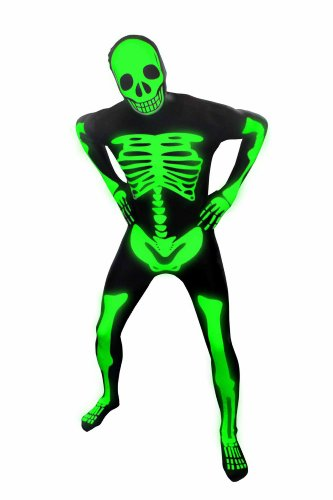 Kids Glow Skeleton Morphsuits Childs Fancy Dress Costume Large 4'6 - 5' (135cm - 152cm) (Adult Glow Official Morphsuit)