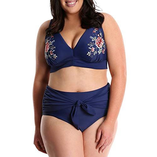 Embroidered Lined Bikini - Lysa Swimwear Plus Size 2 Pc Bikini Embroidered Swimsuit UPF 50 (1X (18/20), Navy)