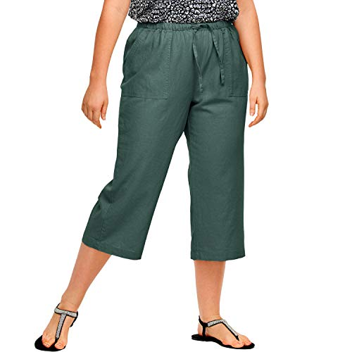 Ellos Women's Plus Size Linen Blend Drawstring Capris - Midnight Green, -