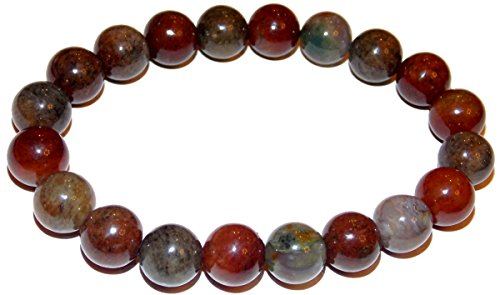 10mm Moss Agate Bead Bracelet 02 Natural Multi Color Life Force Grounding Vitality Healing Crystal Energy (Gift Box) (7.5 - Agate Multi Moss Color
