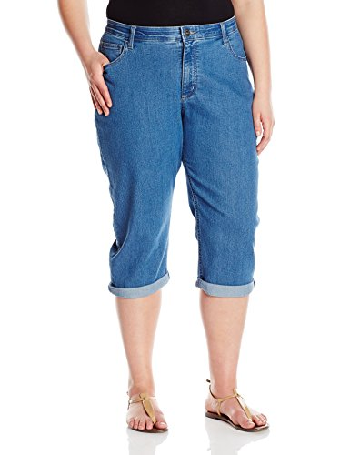 Riders by Lee Indigo Women's Plus Size Comfort Waist Cuff Capri, Vintage Quartz, 26 W