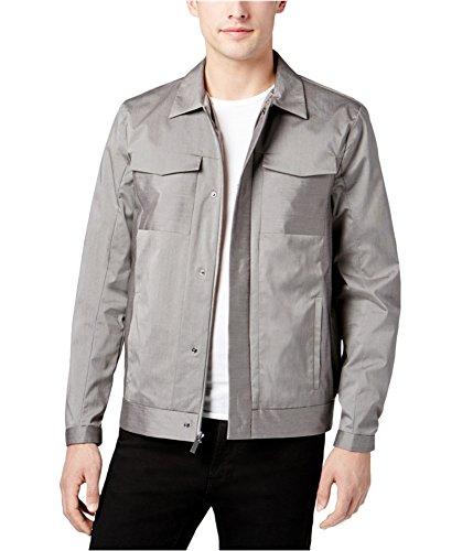 Calvin Klein Mens Pinstriped Trucker Jacket, Grey, Large