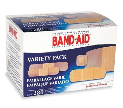 "Johnson & Johnson Consumer Products 4711 Assorted Band-Aid Sheer and Wet Flex Adhesive Bandage Pack, English, 6.71125 fl. oz, Plastic, 1"" x 1"" x 1"" (280 Per Box)"