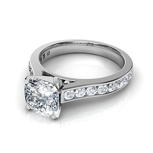 (luxrygold 14K White Gold Pl 2.85Ctw Cushion Cut White Simulated Diamonds Cathedral Engagement Ring)