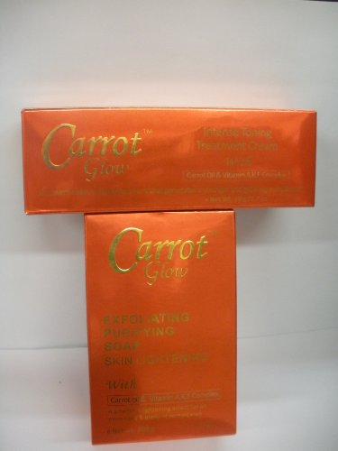 Carrot Glow Intense Toaning Treatment Cream 1.7oz Exfoliating Purifying Soap 7oz combo Pack