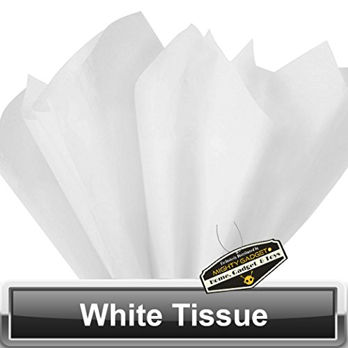 100 Pack x Mighty Gadget (R) Super White Colored Tissue Paper Sheets 15